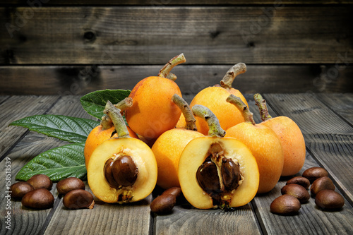 Poster Pays d Asie Medlars produced with organic cultivation