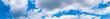 Leinwandbild Motiv Beautiful of panorama blue sky with white cloud for texture background. Concept idea background.