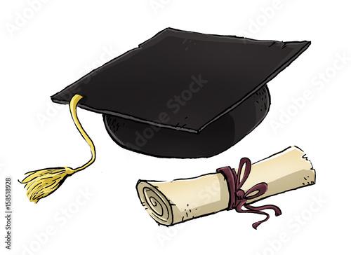 Foto  diploma y gorro de graduacion