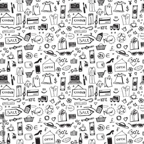 doodle-zakupy-ikony-bezszwowy-wzor