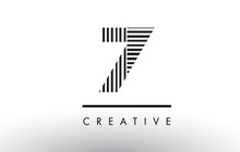 7 Black And White Lines Number Logo Design.