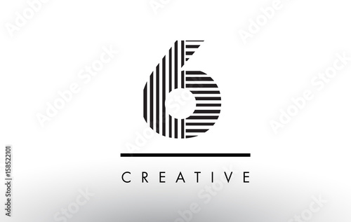 Photographie  6 Black and White Lines Number Logo Design.