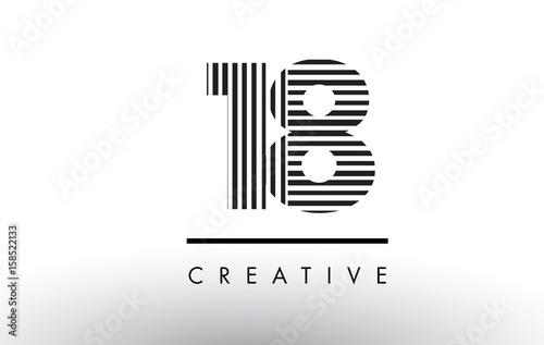 18 Black and White Lines Number Logo Design. Tableau sur Toile