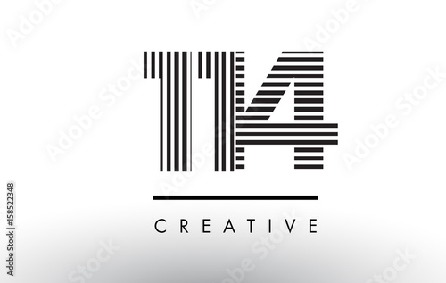 Poster  114 Black and White Lines Number Logo Design.