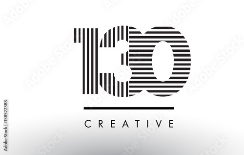 Fotografia  130 Black and White Lines Number Logo Design.