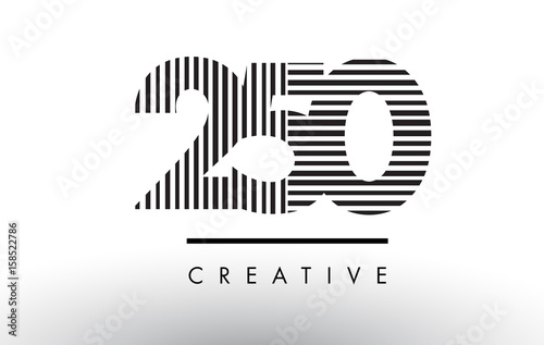 Papel de parede  250 Black and White Lines Number Logo Design.
