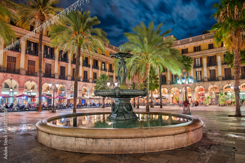 plakat Placa Reial in Barcelona, Spain