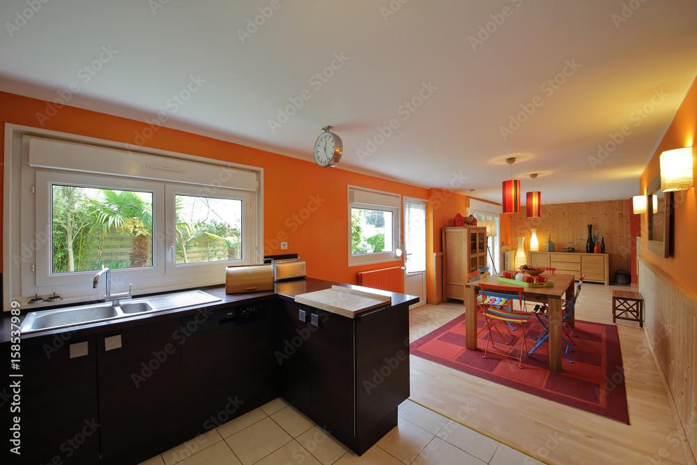 intérieur cuisine salle à manger rez-de-chaussée maison Foto, Poster ...