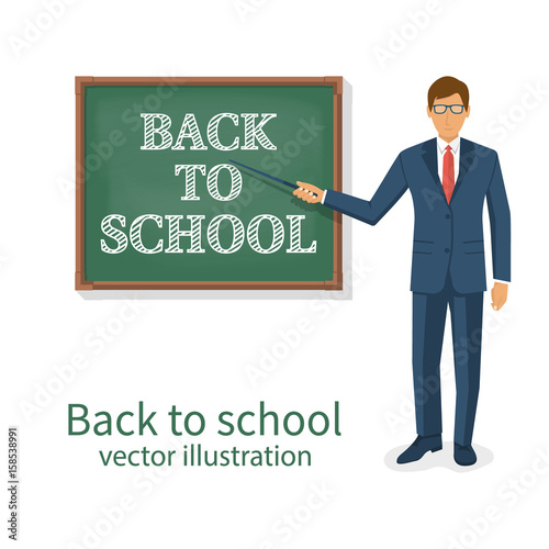 Welcome back to school. Vector illustration flat style. School board ...