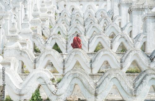 Fotografie, Obraz  Hsinbyume Pagoda the Taj Mahal of Ayeyarwady river, Sagaing Region of Myanmar