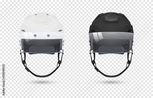 Photo  Realistic classic ice hockey helmets with visor set - black and white color