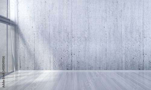 Fototapeta 3D rendering interior design of empty white room and concrete wall obraz na płótnie