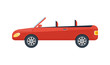 Modern cabriolet isolated icon. Sport car, modern automobile, people transportation side view vector illustration.