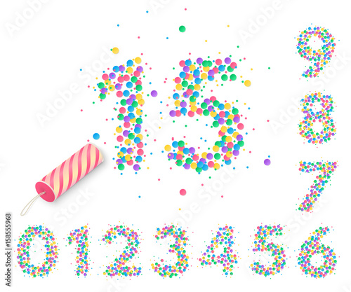 Fotografia, Obraz  Colorful confetti in the form of numbers with a party popper for design of anniversary posters and greeting card