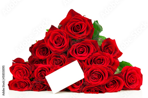 Staande foto Roses Bunch of red roses and a greeting card isolated on white background