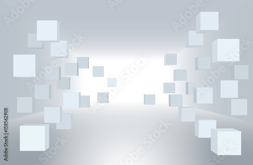 fototapeta na ścianę 3d vector illustration. White interior of not existing building with flying cubes in perspective. The subject of delivery, data transmission, relocation.