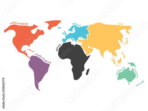 Fototapeta mapa świata dla dzieci  wielokolorowa-mapa-swiata-podzielona-na-szesc-kontynentow-w-roznych-kolorach-ameryka-polnocna-poludniowa