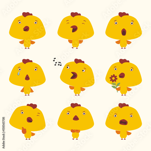 Set funny chicken in different poses Fototapet