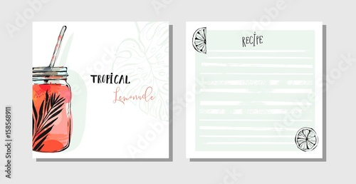 Fototapeta Hand drawn vector abstract cooking cards recipe collection set template with detox water drink glass jar,lemons and tropical palm leaves isolated on white background. obraz