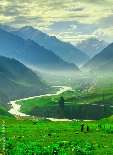 Foto op Plexiglas Groene Beautiful mountain view with snow of Sonamarg, Jammu and Kashmir state, India