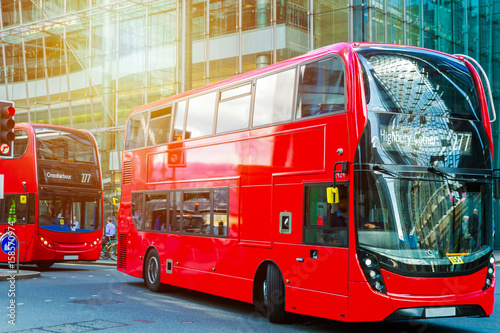 Photo  Famous Red Double Decker Bus in Canary Wharf District. London, UK