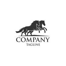 Two Horse Run Icon Vector Logo