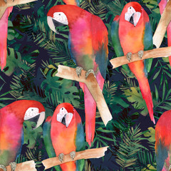 Fototapeta Współczesny Watercolor seamless pattern with colorful parrots and tropical leaves. Exotic print