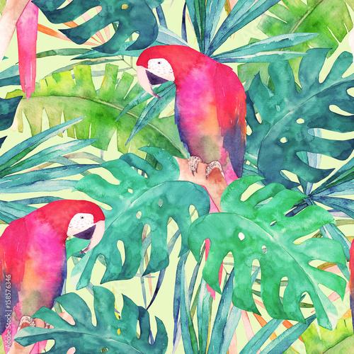 lato-wzor-z-akwarela-papuga-lisci-palmowych-kolorowa-ilustracja