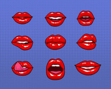 Set Of Different Female Red Li...