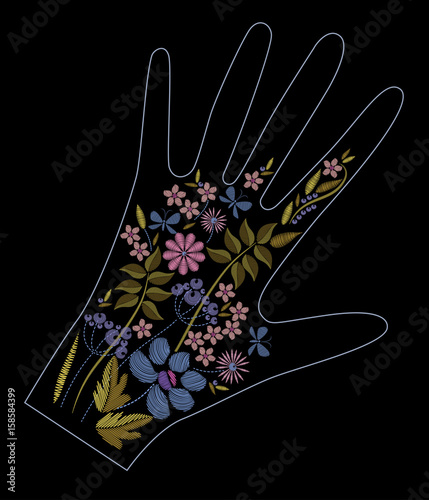 Fotografija  Satin stitch embroidery design with colorful flowers