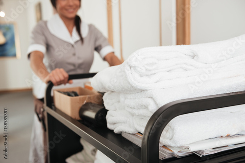 Cropped image of a young hotel maid bringing clean towels