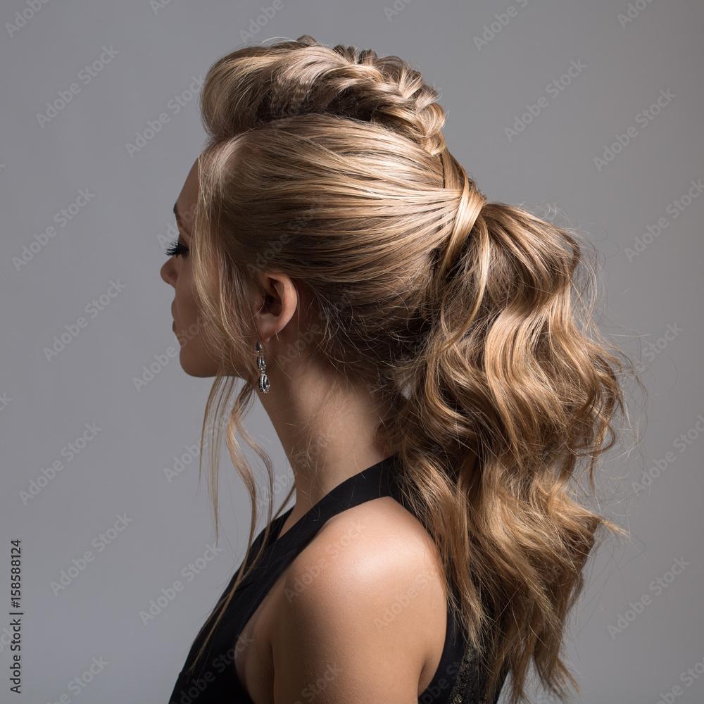 Fototapety, obrazy: Beautiful woman. Braid Tail Hairstyle.