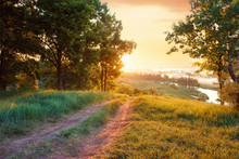 Summer Landscape Road River Fo...