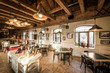 Chandeliers on wooden ceiling in retro restaurant