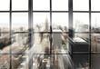 Leinwandbild Motiv Large panoramic window with views of the city