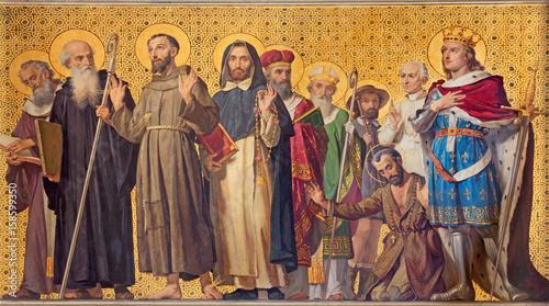 Obraz TURIN, ITALY - MARCH 15, 2017: The symbolic fresco of holy Confessor with the in church Chiesa di San Dalmazzo by Enrico Reffo (1831-1917). - fototapety do salonu