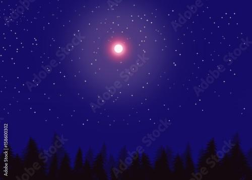 Deurstickers Nacht Nuit de pleine lune