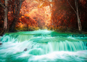 FototapetaBeautiful waterfall in autumn forest