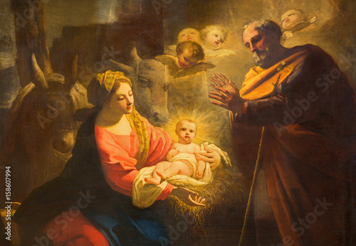 Canvas Prints Historical buildings TURIN, ITALY - MARCH 13, 2017: The detail of painting of Nativity in Duomo by Giovanni Comandu da Mondovi (1795).