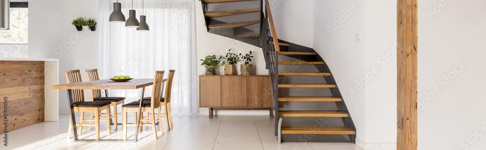 Fototapeta Stairs in dining hall
