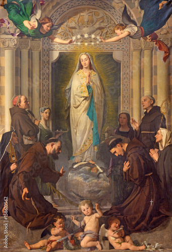 Fotografija  TURIN, ITALY - MARCH 13, 2017: The Painting of Immaculate Conception of Virgin Mary among the saints (St