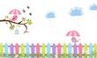 Pajaritos con paraguas en rama de árbol y valla de colores.
