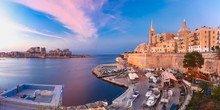 Valletta Panoramic Skyline With Church Of Our Lady Of Mount Carmel And St. Paul's Anglican Pro-Cathedral, At Beautiful Sunset, Valletta, Capital City Of Malta
