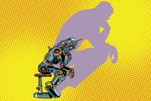 Robot Thinker With The Shadow Of A Man