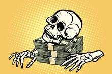 Skeleton Skull Dollar Money, W...