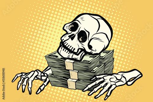 Fotografia, Obraz skeleton skull dollar money, wealth and greed