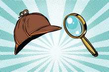 Detective Hat And Magnifying G...