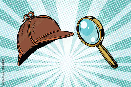 Fotografia, Obraz Detective hat and magnifying glass