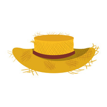 White Background With Straw Hat With Ribbon Vector Illustration