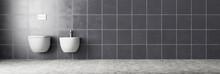 Toilette Und Bidet Im Badezimmer Mit Fliesen